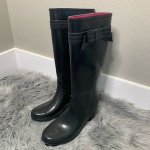 Kate Spade Black Rain Outdoor Boots Bow Size 9
